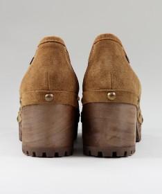 Sapatos Camel de Senhora Ginova em Sola de Madeira