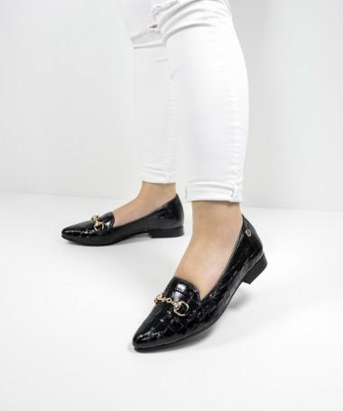 Sapatos Rasos Ginova de Mulher com Aplicação Dourada