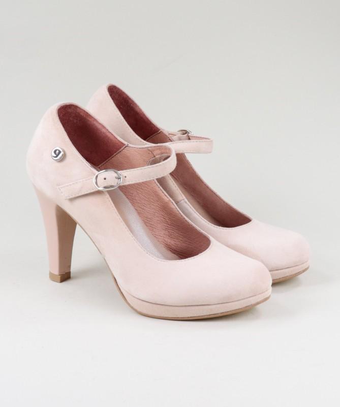 Sapatos Vermelhos de Senhora Ginova em Camurça