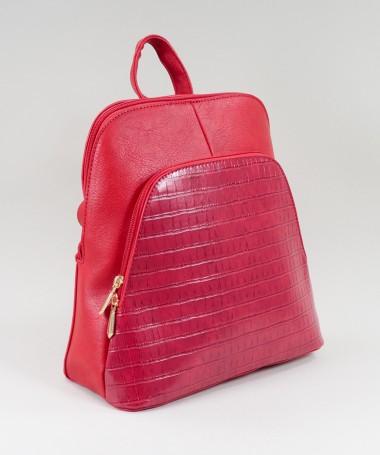 Mochila Vermelha de Senhora com Bolso Frontal