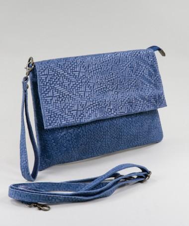 Clutch Feminina Azul em Pele